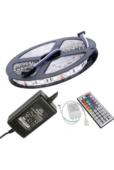 SRC Şerit LED Rgb 44 Tuşlu Kumanda 20 Renk Iç Mekan 5050 Smd Tak Çalıştır Double Pcb