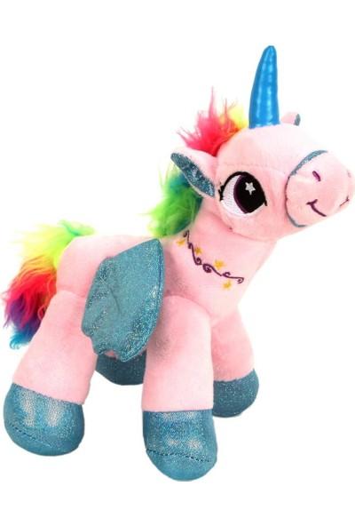 Mamitoys Kanatlı Pembe Unicorn Peluş Büyük Boy Unicorn Oyuncak 30 cm