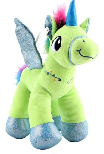 Mamitoys Kanatlı Yeşil Unicorn Peluş Büyük Boy Unicorn Oyuncak 30 cm