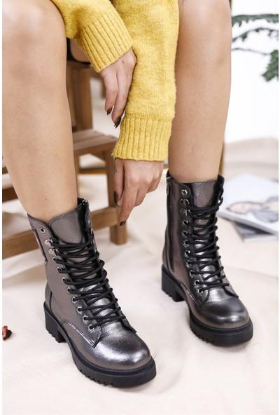 Tuğrul Ayakkabı Fermuarlı Armalı Platin Kadın Postal