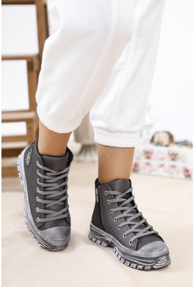 Tuğrul Ayakkabı Fermuarlı Platin Cilt Kadın Spor Bot