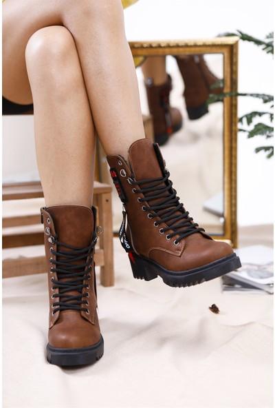 Tuğrul Ayakkabı Yıldız Armalı Taba Kadın Postal