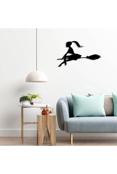 New Jargon Süpürgeli Genç Cadı Duvar Oda Ev Aksesuarı Ahşap Tablo 50 x 29 cm