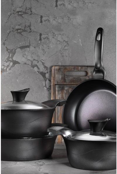 Kütahya Porselen Lidya 7 Parça Granit Siyah Döküm Tencere Seti