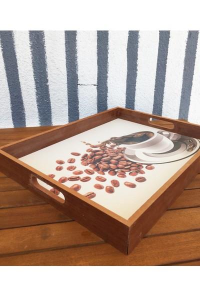 Kahve Desenli Ahşap Tepsi - Dikdörtgen Beyaz Tepsi