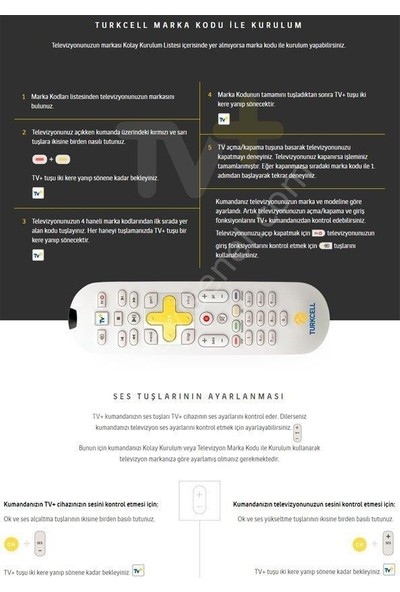 Electroon Turkcell Tv+ Plus Klavyesiz Kumanda