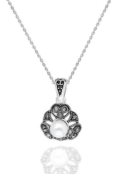 Jelux Silver Desenli Inci Taşlı Telkari Markazit Taşlı Kolye