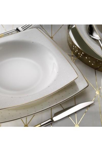 Kütahya Porselen Bone Mare 62 Parça 1075021 Yemek Takımı Altın