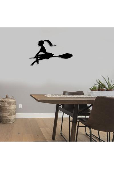 Mıgnatıs Süpürgeli Genç Cadı Duvar Oda Ev Aksesuarı Ahşap Tablo 50 x 29 cm