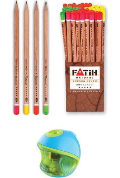 Keyroad Pilli Otomatik Kalemtraş Mavi + Fatih Natural Kurşun Kalem 72'li