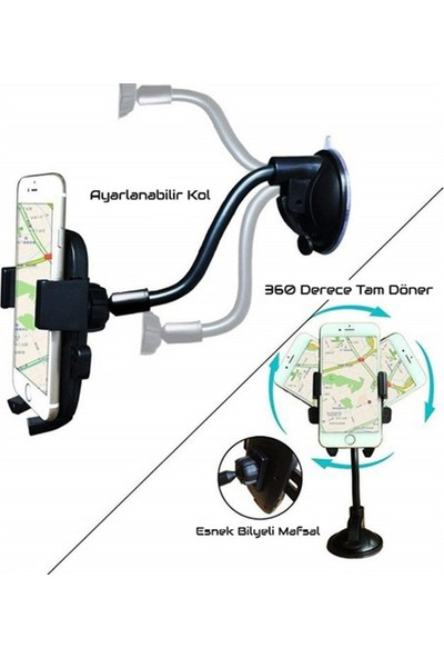 Mkey Araç Içi Araba Içi Telefon Tutucu Spiralli Cama Yapışan Model Vantuzlu Her Telefon Modeline Uygun
