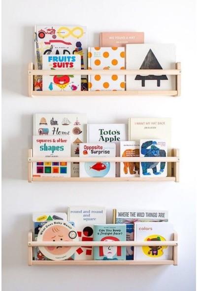 Bb Çocuk Odası Montessori Ahşap Duvar Rafı 3lü Set