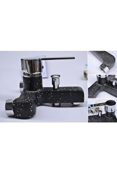 Siyah Desenli Banyo Duş Musluğu Çeşmesi Bataryası