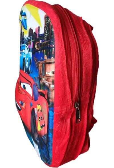 Redpoloshop Çocuk Sırt Çantası Peluş 5d Kabuk 3-6 Yaş Kırmızı Araba