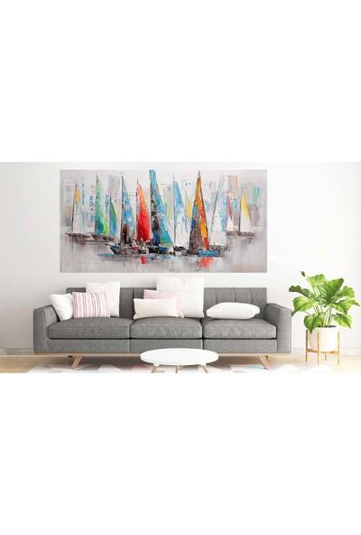 Hobimania Kanvas Tablo Yelkenliler Manzara Yağlı Boya Görünümlü Yelkenler Duvar Dekorasyon Moda Tablo
