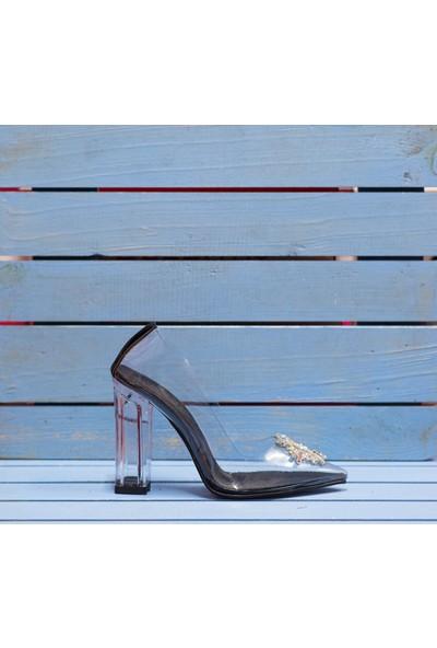 Papuç Taşlı Şeffaf Topuklu Ayakkabı
