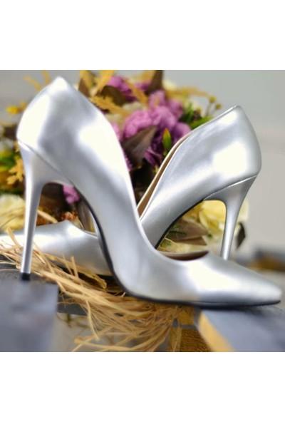 Papuç Gri Stiletto Topuklu Ayakkabı