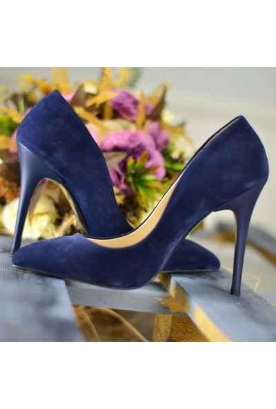 Papuç Lacivert Süet Stiletto Topuklu Ayakkabı