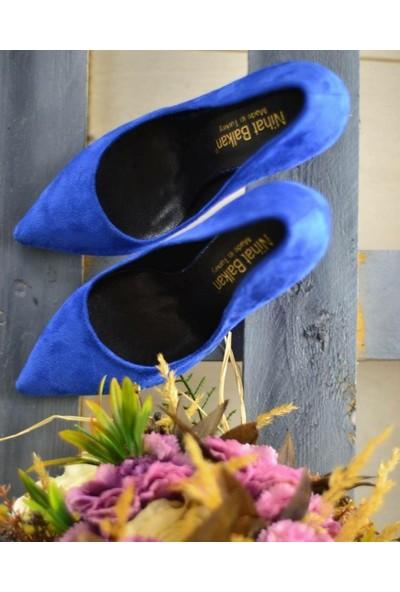 Papuç Mavi Süet Stiletto Topuklu Ayakkabı