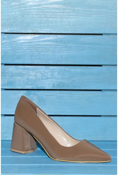 Papuç Saten Sivri Burun Kalın Topuklu Ayakkabı