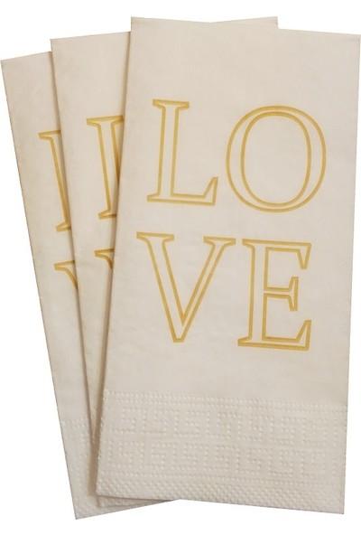 Napkin Store Peçete ( Love ) Gold Renk 24'lü