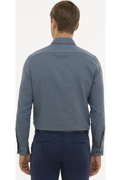 Pierre Cardin Erkek Lacivert Slim Fit Gömlek 50233533-VR033