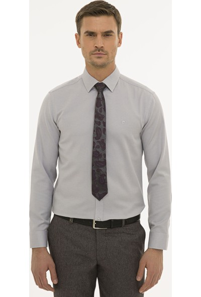 Pierre Cardin Erkek Gri Slim Fit Oxford Gömlek 50233546-VR024
