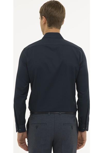 Pierre Cardin Erkek Lacivert Slim Fit Armürlü Gömlek 50233531-VR033