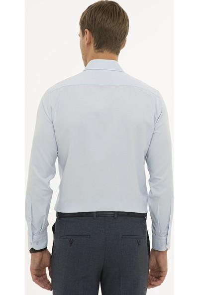 Pierre Cardin Erkek Açık Mavi Slim Fit Armürlü Gömlek 50233531-VR003