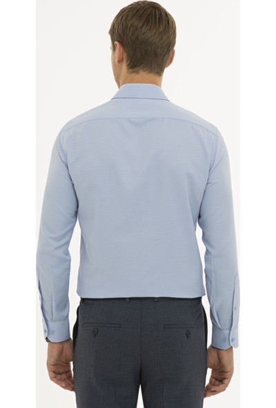 Pierre Cardin Erkek Koyu Mavi Slim Fit Armürlü Gömlek 50233531-VR032