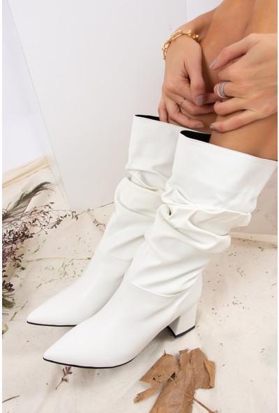 Fox Shoes Beyaz Suni Deri Kadın Çizme J922199909