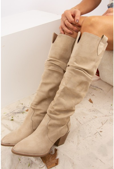 Fox Shoes Vizon Süet Kadın Çizme J404040102