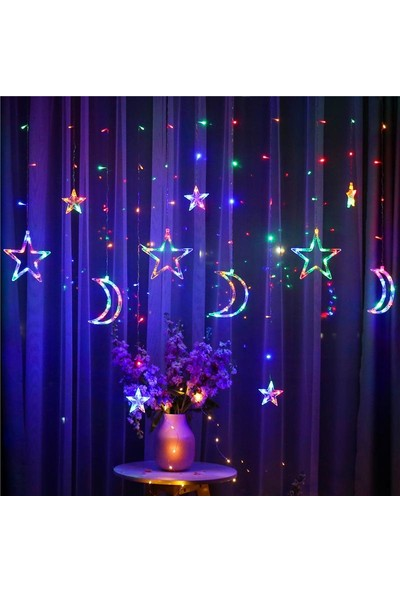 Nettenevime LED Işık Dekoratif Süs 2 Fonksiyonlı Dev Hilal ve Yıldız Sarkaç Hediyelik