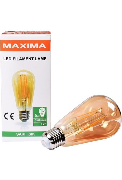 Maxima ST64 Edison LED 5 W Uzun Filament 2700K Sarı Işık Amber