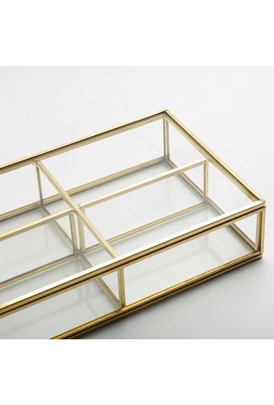 El Crea Designs Takı Aksesuar Makyaj Kutusu Cam Organizer Kapaklı Gold Pirinç Brass 25X15X6CM