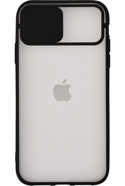 KZY Apple iPhone X Kapak Lensi Açılır Kapanır Kamera Korumalı Silikon Kılıf - Siyah