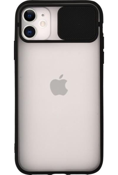 KZY Apple iPhone 11 Kapak Lensi Açılır Kapanır Kamera Korumalı Silikon Kılıf - Siyah