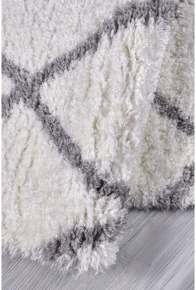 Kuga Gri Beyaz Ekose Yuvarlak Dokuma Post Halı