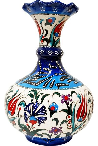 Otogar Çini El Yapımı Tombul Çini Vazo-Mavi Beyaz Samur Fırça Işlemeli