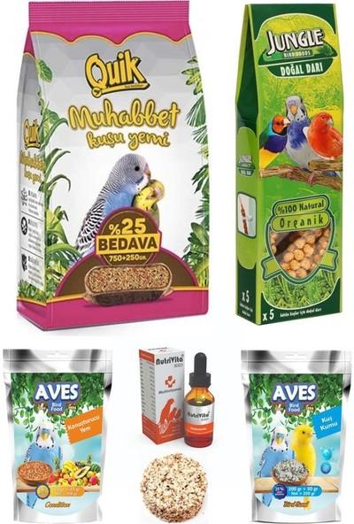 Quik Muhabbet Kuşu Yem Dal Darı ve Vitamin Seti 1 kg