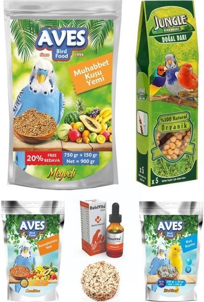 Aves Muhabbet Kuşu Yem Dal Darı ve Vitamin Seti 900 gr