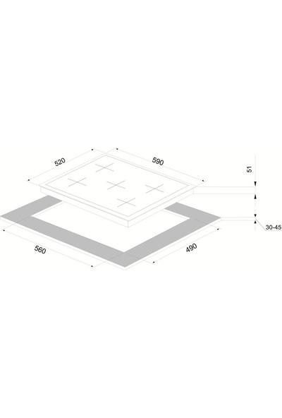 Vinola MOG.7020.111.02 Emaye Izgaralı Wok Gözlü 70'lik Beyaz Cam Ocak - Doğalgaz