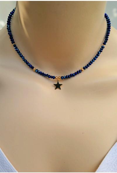 Dizayn Cam Mavi Kristal Boncuk Gold Yıldız Kolye