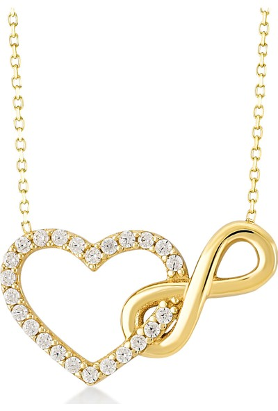 Gelin Pırlanta 14 Ayar Altın Kalp Sonsuzluk Kolye