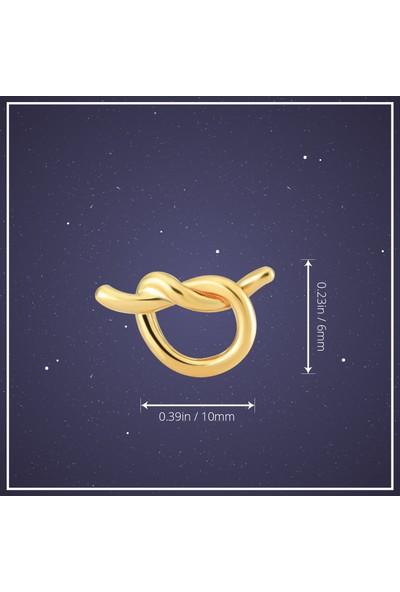 Gelin Pırlanta 14 Ayar Altın Mini Düğüm Kalp Küpe
