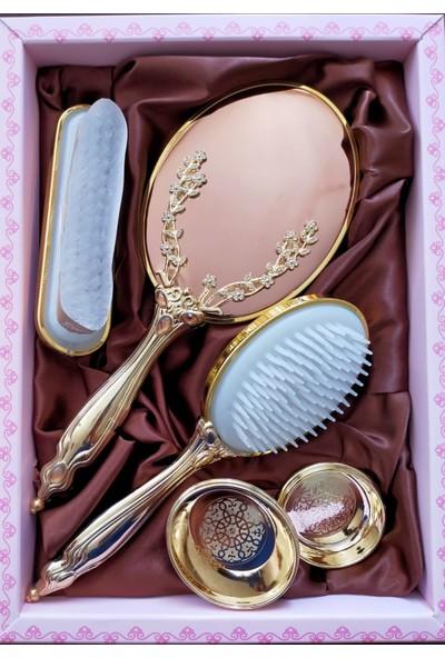 Saraylı Gold Sarmaşık Ayna Tarak 4'lü Çeyiz Seti
