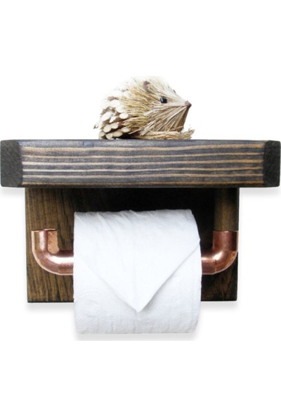 Tedarik Center Tuvalet Kağıtlık Masif Ahşap Tuvalet Kağıtlığı Ceviz
