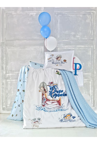 Luoca Patisca Pamuk Ranforce Bebek Nevresim + Battaniye Seti - Pirate Mavi