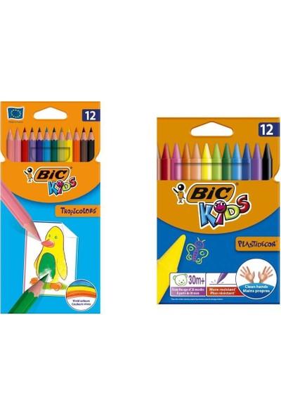 Bic Kids Tropicolors Kuru Boya 12 Renk + Bic Kids Plastidecor Silinebilir Elleri Kirletmeyen Pastel Boya 12 Renk