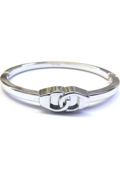 X-lady Accessories Kelepçe Desenli Kelepçe Bileklik Gümüş Renk Unisex Model
